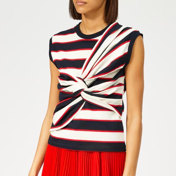 506fe917e78 MSGM - White Women s Sleeveless Striped Jersey Top - Lyst. View fullscreen