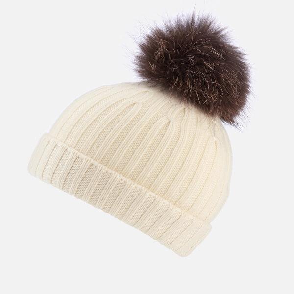 8eef58df552 Lyst - BKLYN Women s Cashmere Pom Pom Hat in White