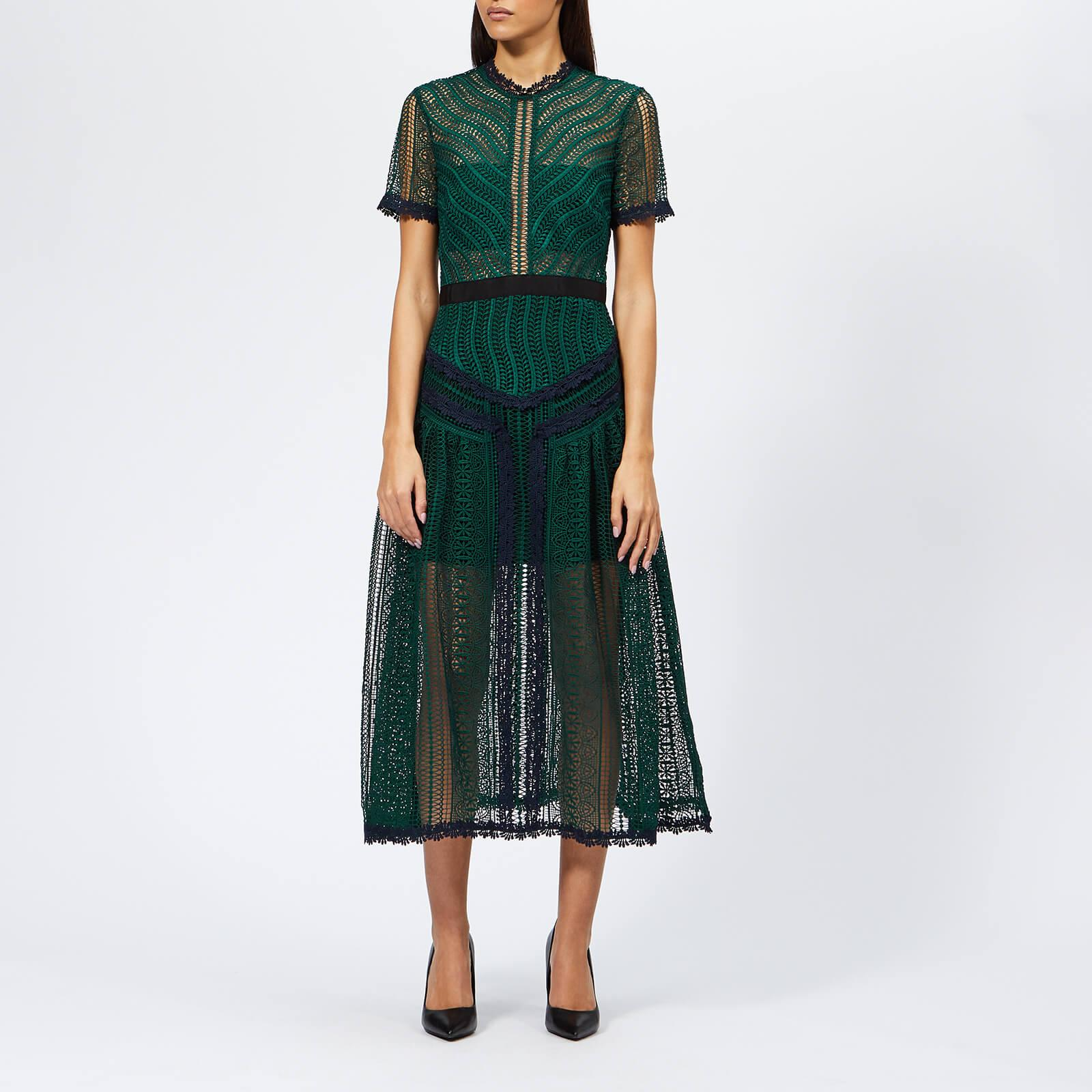 f47a3c86bbad Lyst - Self-Portrait Wave Lace Midi Dress in Green - Save 8%