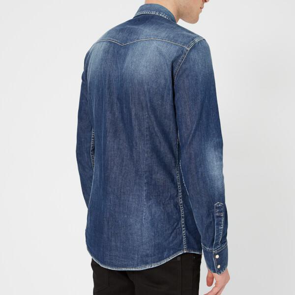 537a421b117 DSquared² - Blue Men s Stretch Denim Fashion Western Shirt for Men - Lyst.  View fullscreen
