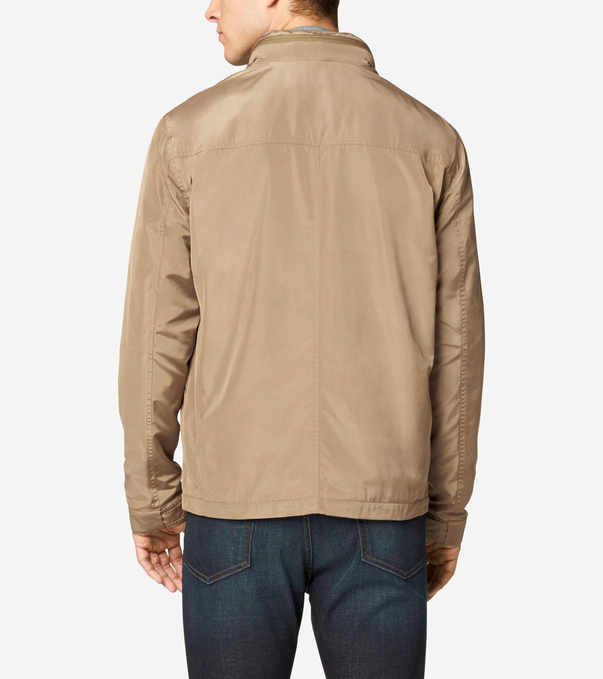 Lyst Cole Haan Trucker Packable Rain Jacket In Natural