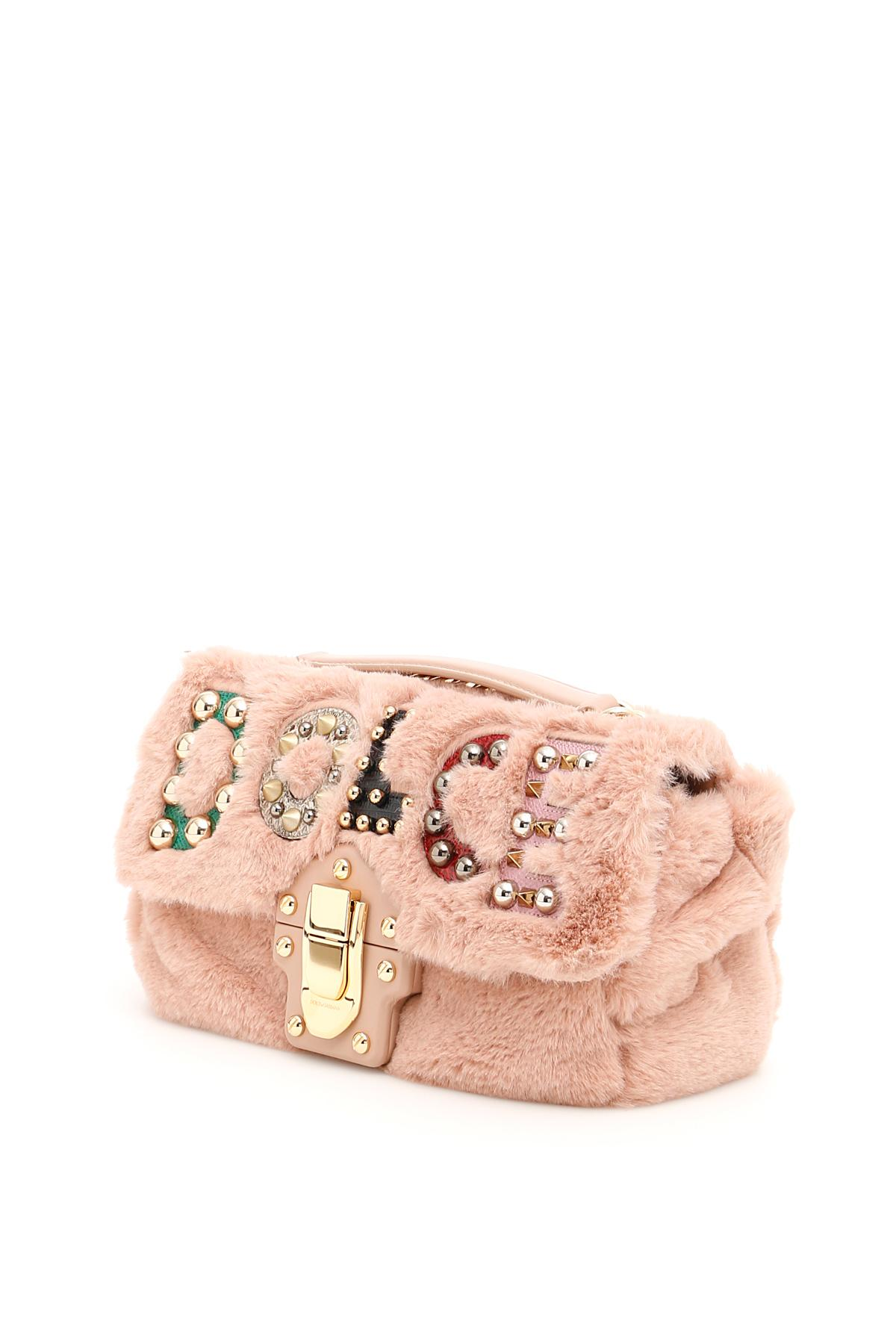 Lyst - Dolce   Gabbana Faux Fur Lucia Bag With Patch in Pink f234945718461