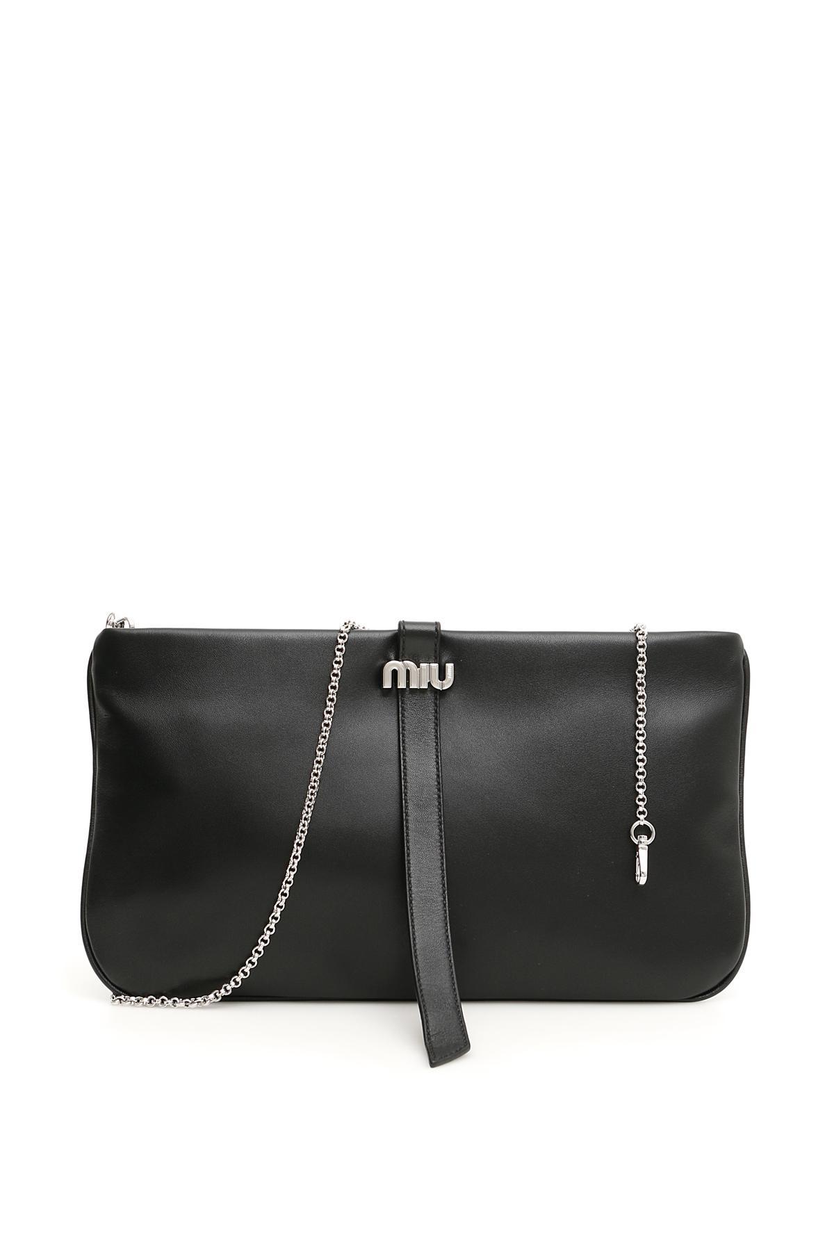 4d121e944ea0 Lyst - Miu Miu Nappa Clutch in Black