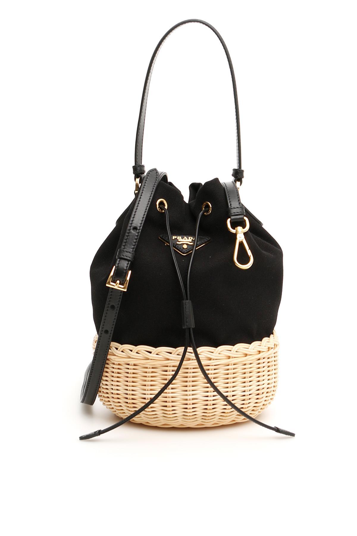 4a287ced26 Lyst - Prada Hemp Mini Bucket Bag in Black