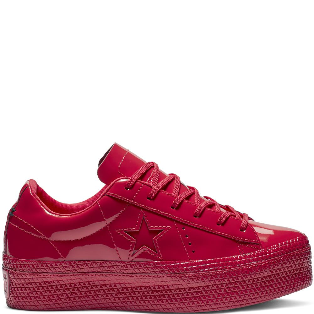 e7b850ac3a2 Converse One Star Platform Patented  90s Faux Leather Low Top in Red ...
