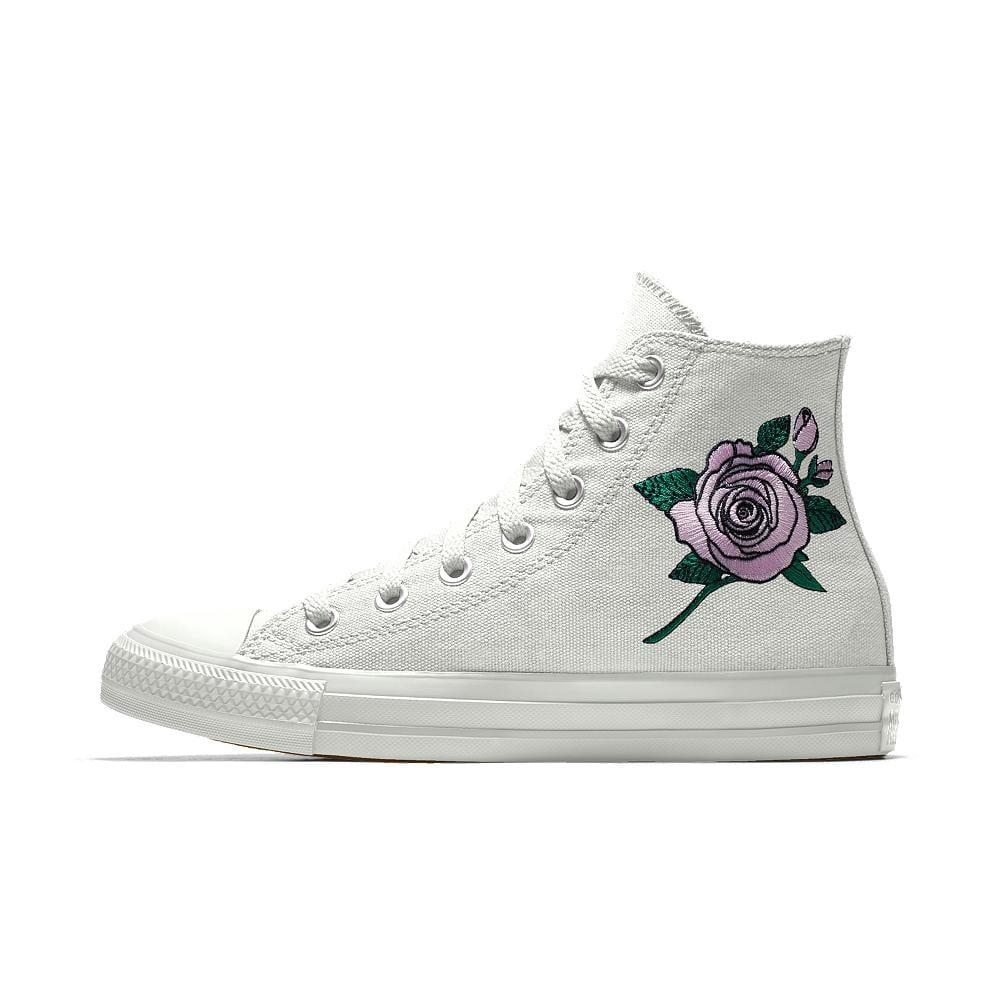 Lyst - Converse Custom Chuck Taylor All Star Rose Embroidery High ... c15e6b39f
