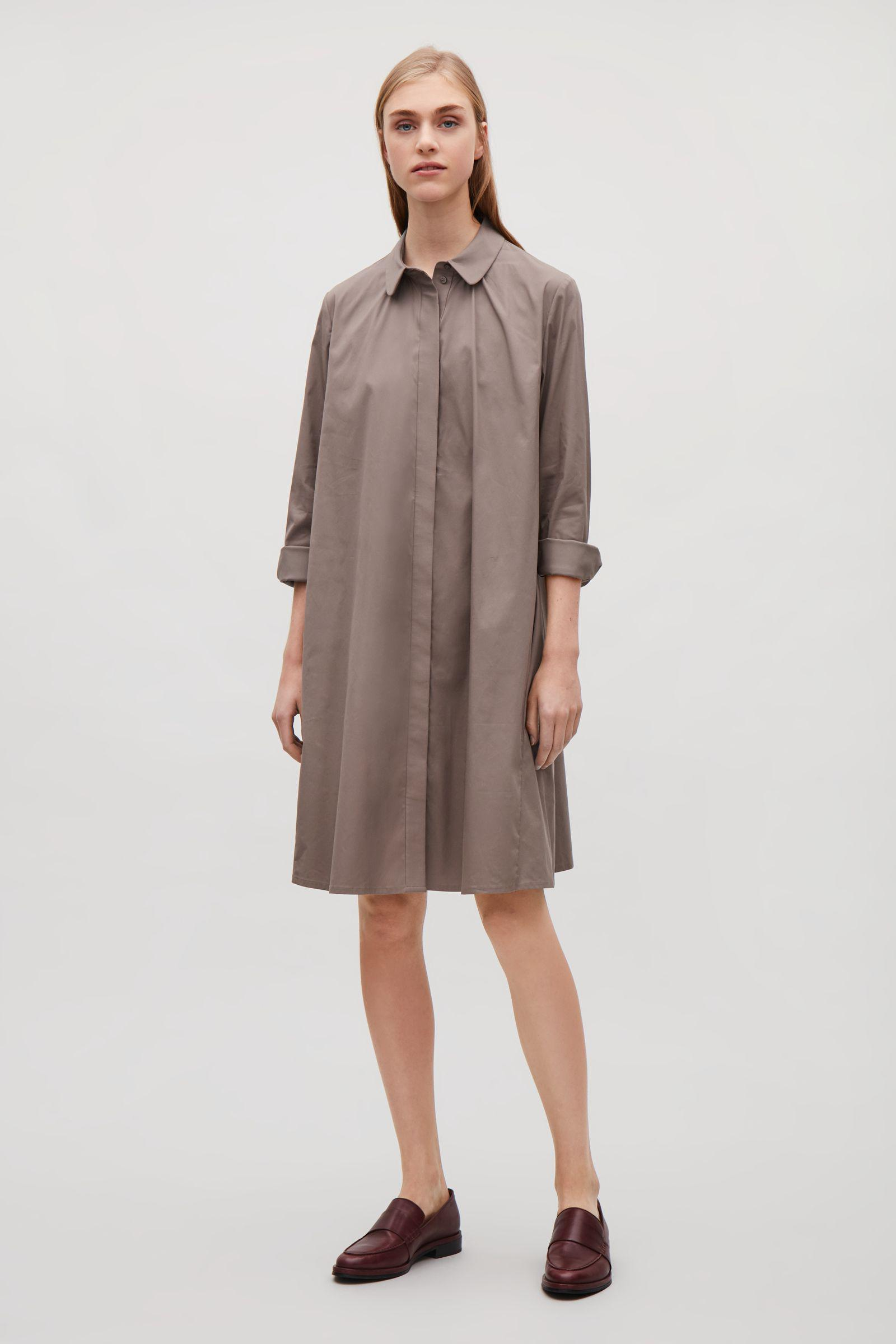 9c0fcba42cb4 COS Shirt Dress With Gathering Detail in Brown - Lyst