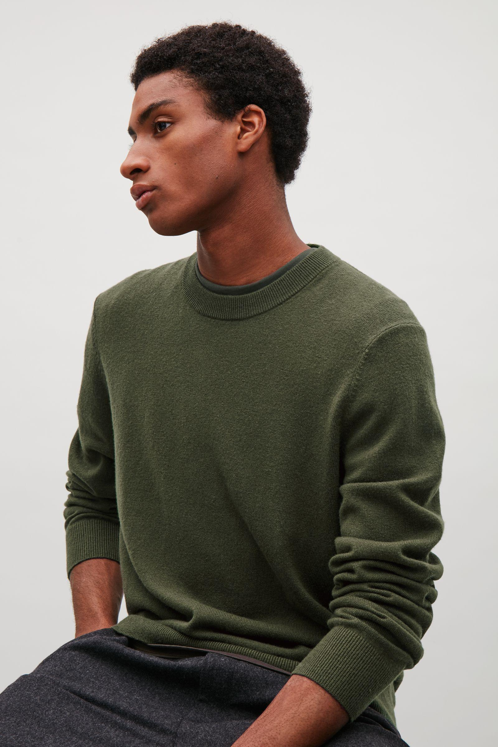 16b7462e969d Lyst - COS Wool And Yak Crew-neck Jumper in Green for Men