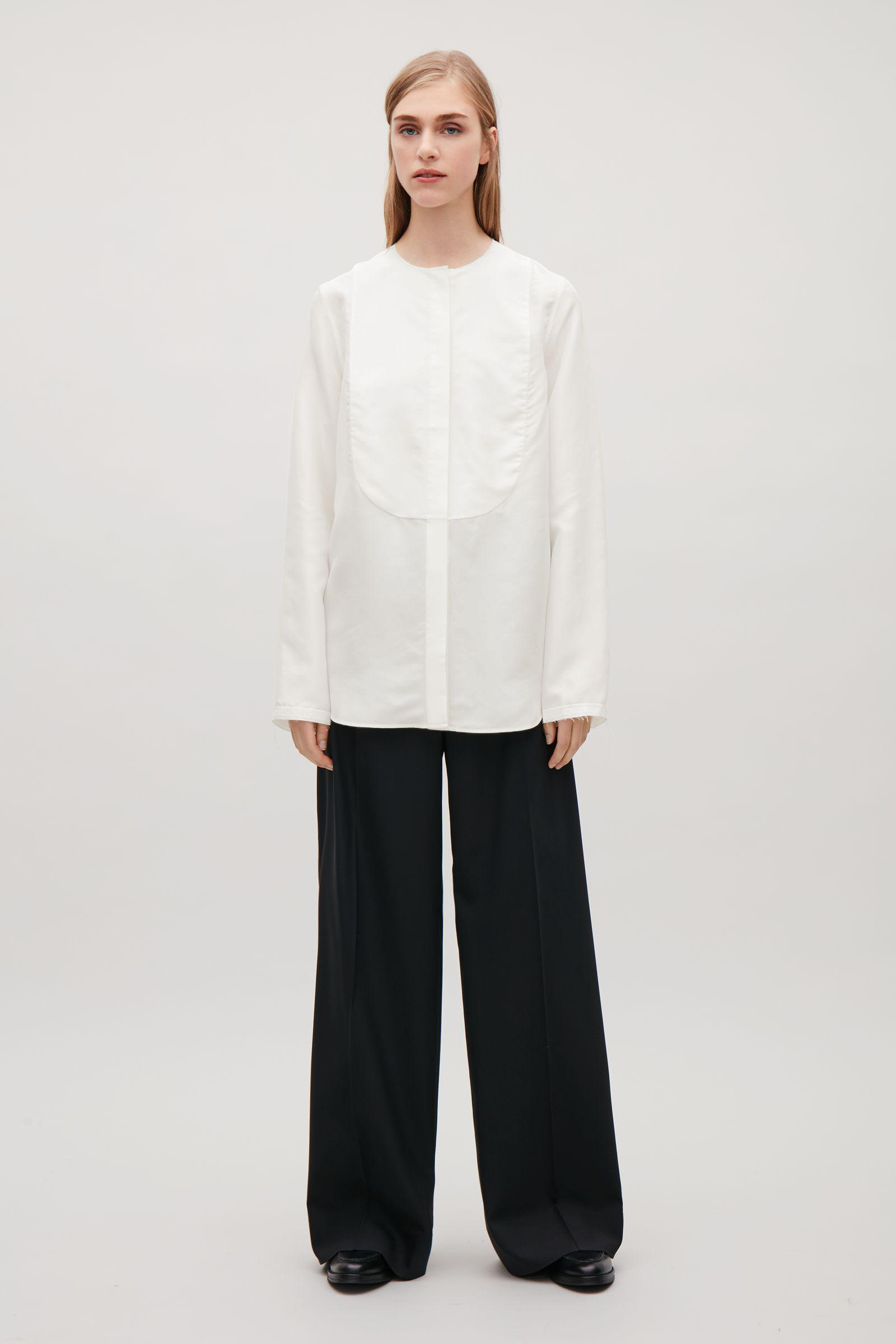 7ef06c54fe9c COS Silk Shirt With Bib Front in White - Lyst