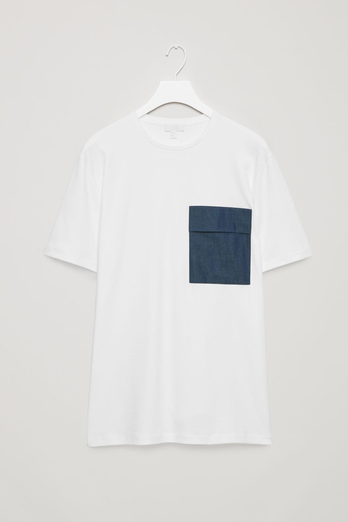c4c17b8396b Lyst - COS T-shirt With Denim Pocket in White for Men