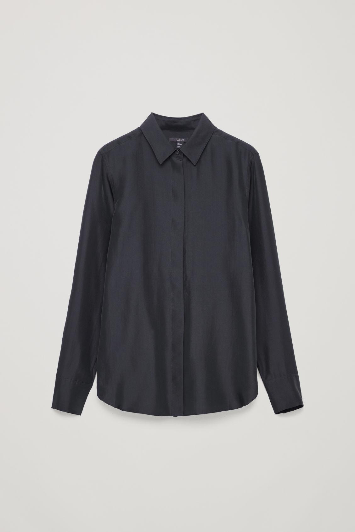 2af8022ea6a8d Lyst - COS Silk Shirt in Blue