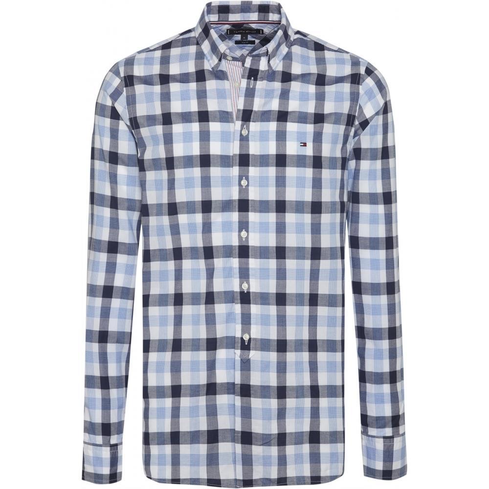 097ef621e Tommy Hilfiger Slim Grid Check Mens Shirt in Blue for Men - Lyst