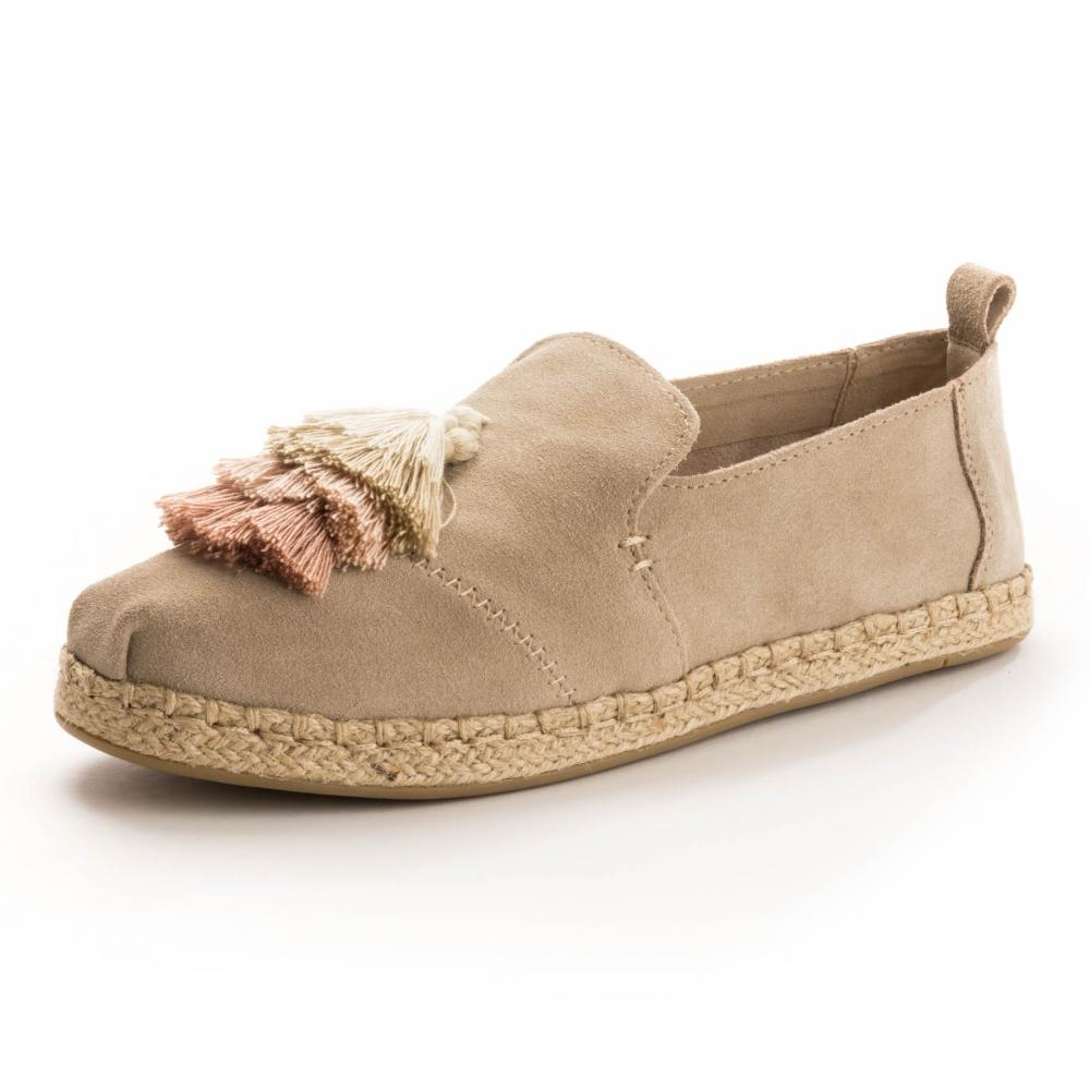 TOMS. Brown Deconstructed Alpargata Rope Oxford Tan Suede  Tassel Womens  Espadrille d03e13d2ef6