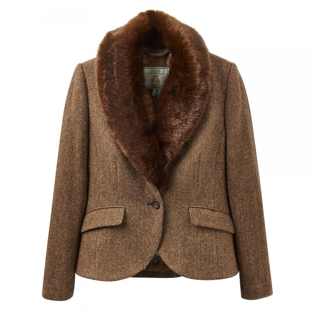 Joules Wilomena Tweed Womens Jacket X In Brown Lyst