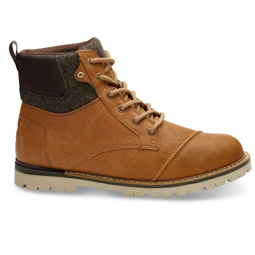 cfcef14a0c0 TOMS - Brown Ashland Waterproof Dark Toffee Leather Brushed Wool Mens Boot  for Men - Lyst. View fullscreen