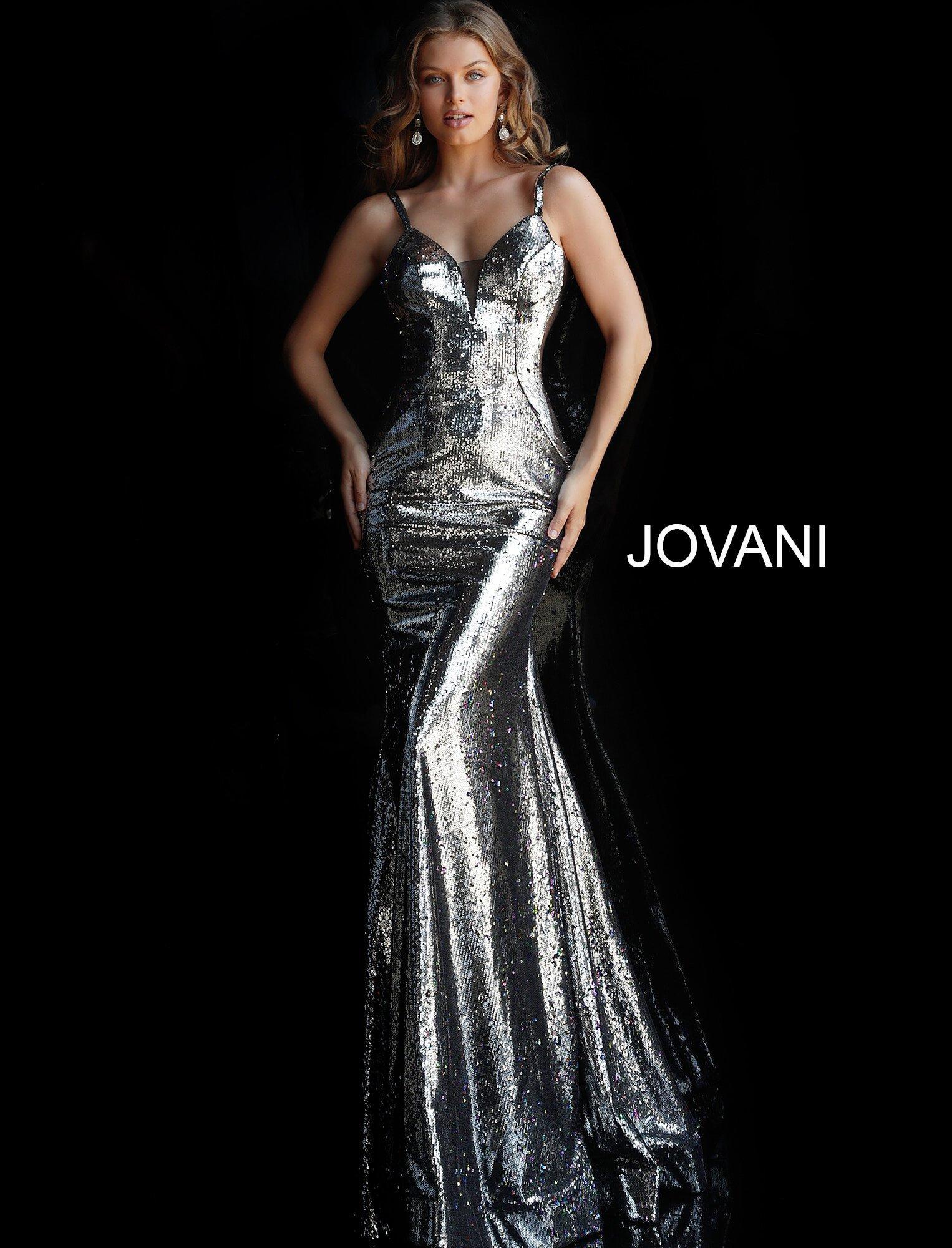 d9899fa3ab6 Lyst - Jovani 61398 Sequined Deep V-neck Long Trumpet Dress in Black