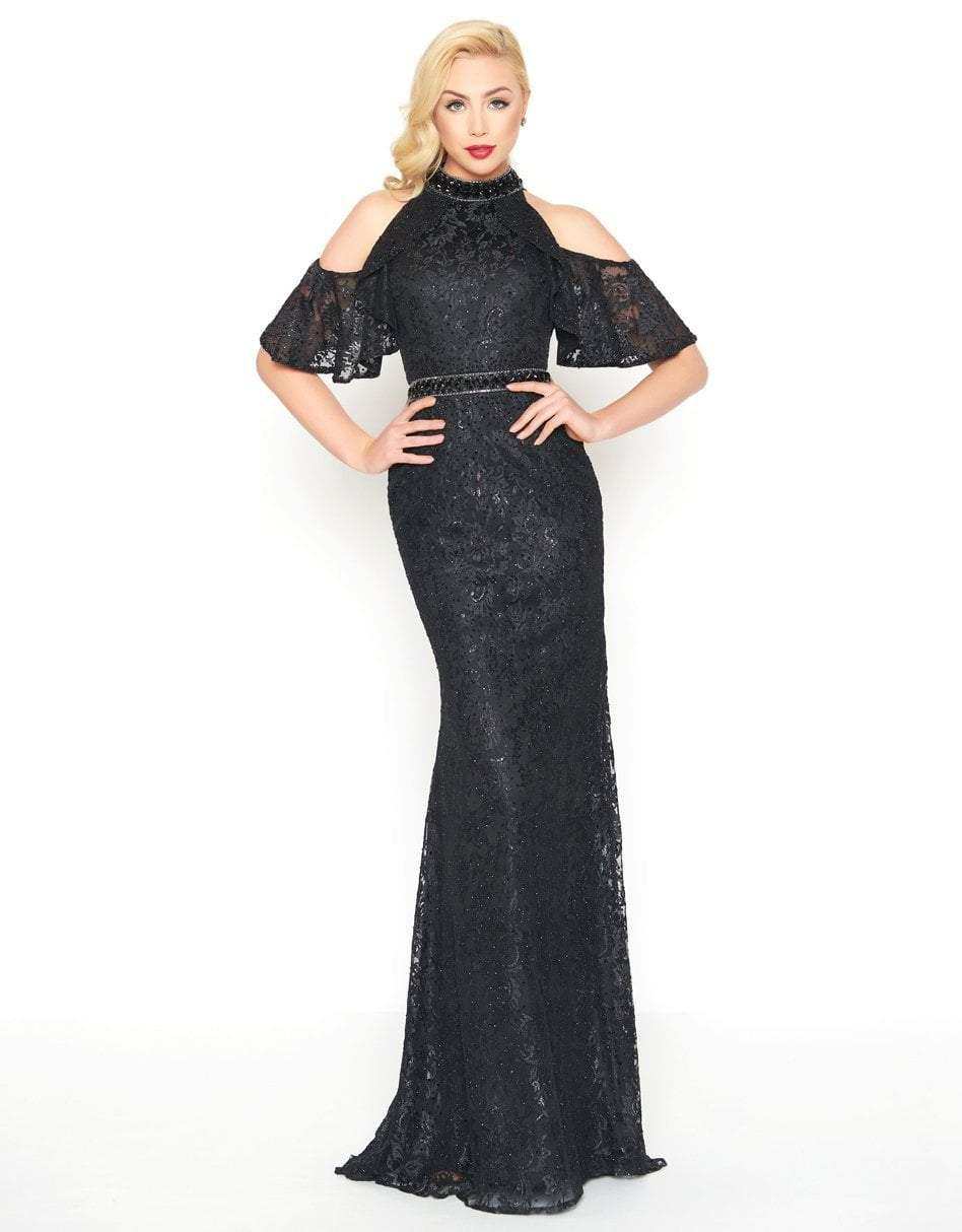 a7fd6ca07b9e Mac Duggal. Women's Black Cold Shoulder Halter Lace Gown With Beaded ...