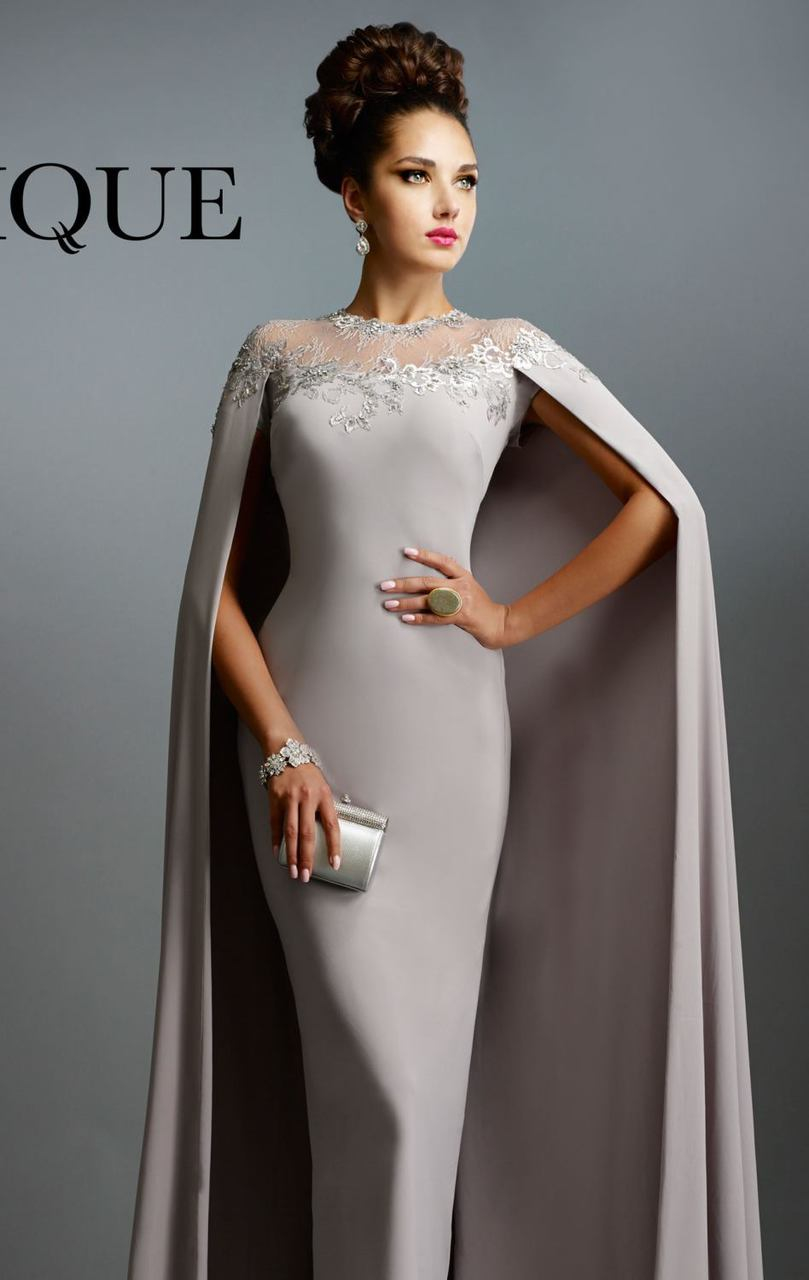 janique c long gown with cape in silver in gray