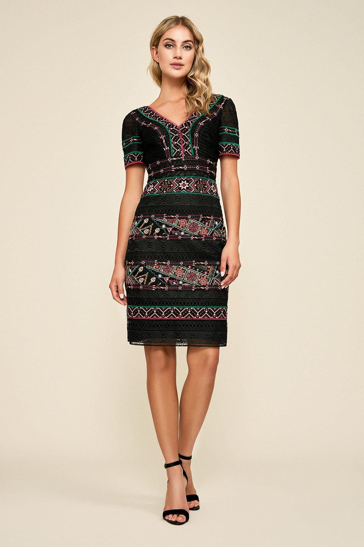 ca02c3da Tadashi Shoji - Black Embroidered Lace V-neck Knee Length Sheath Dress -  Lyst. View fullscreen