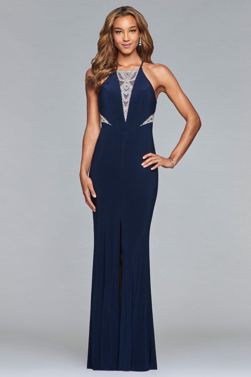 Lyst - Faviana S10069 Lavish Halter Beaded Evening Gown in Blue