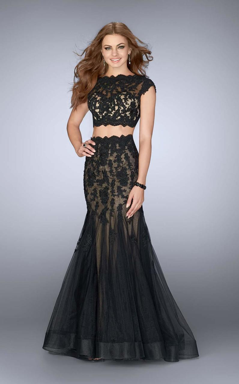 fdc862457f7a Lyst - La Femme 23567 Two Piece Crop Top Mermaid Lace And Tulle Prom ...