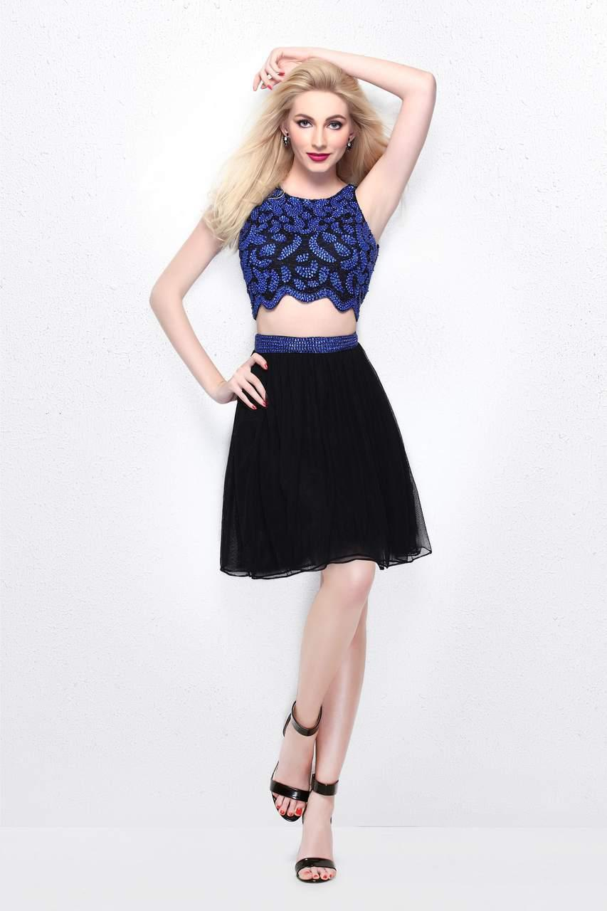 b56f550e5 Lyst - Primavera Couture Two Piece Sequined Cropped Top And A Line ...