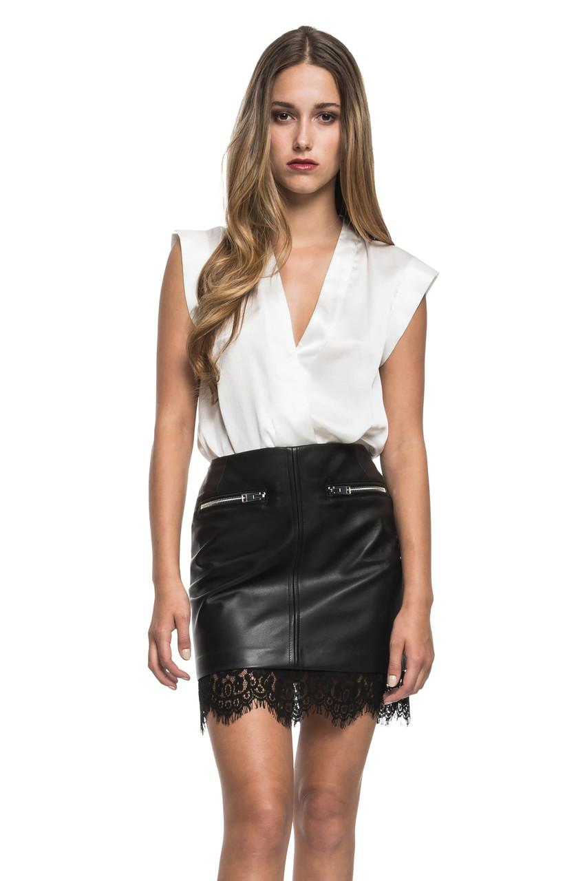 lamarque ciona leather skirt in black with black lace hem