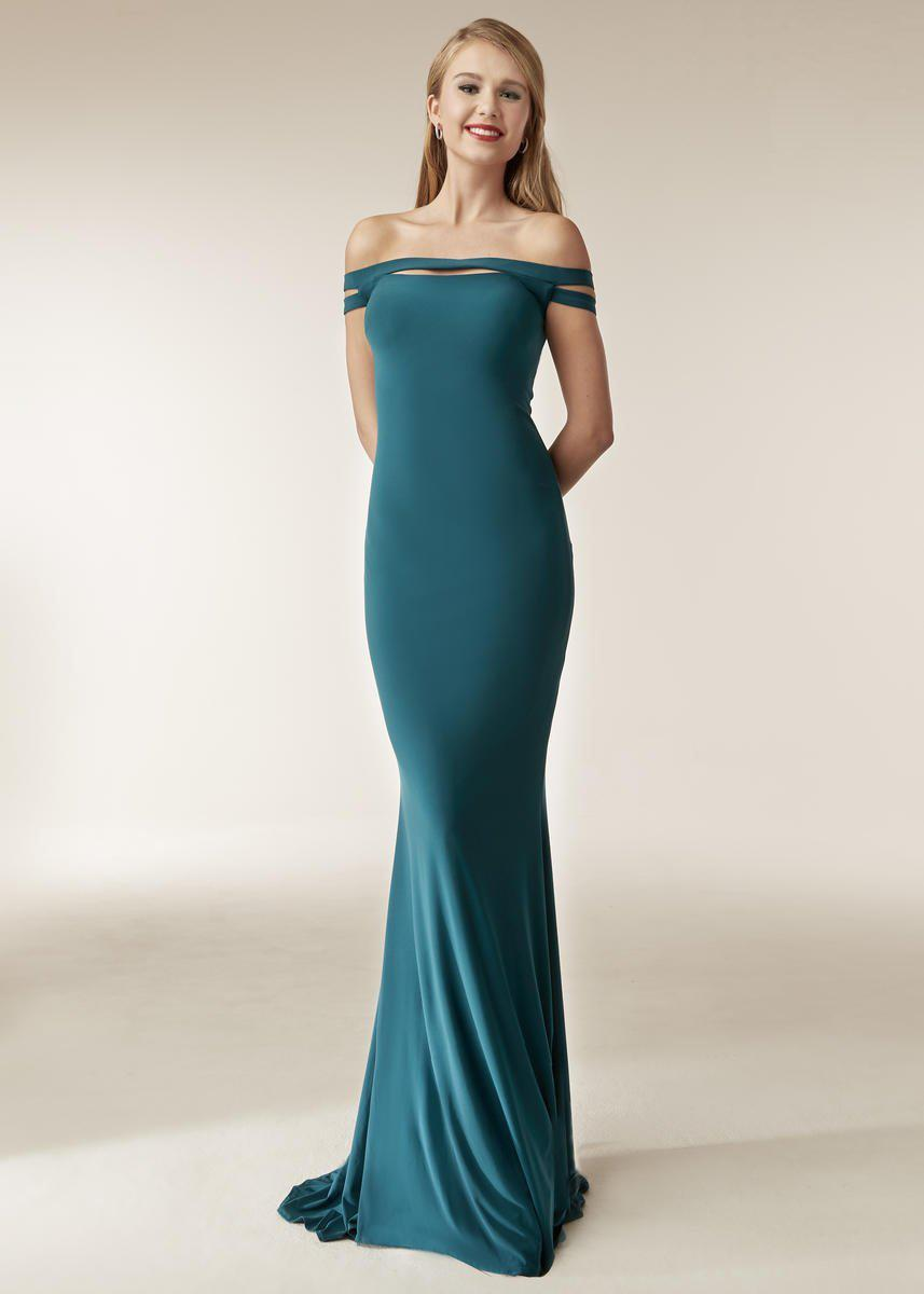 34c0c6f879a4 Lyst - Jasz Couture 6250 Fitted Off Shoulder Evening Dress in Blue