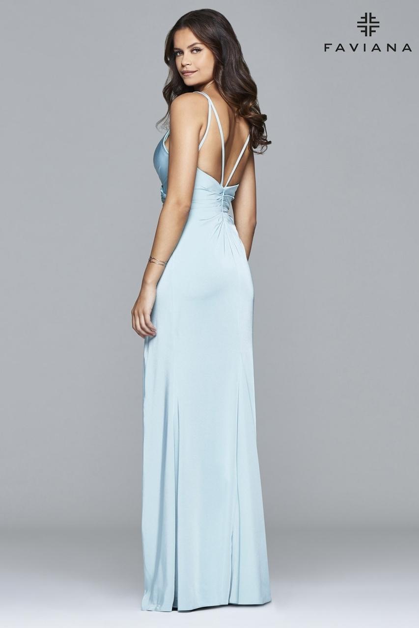 5364d5ecd25 Lyst - Faviana Satin V-neck Open Back With High Slit in Blue