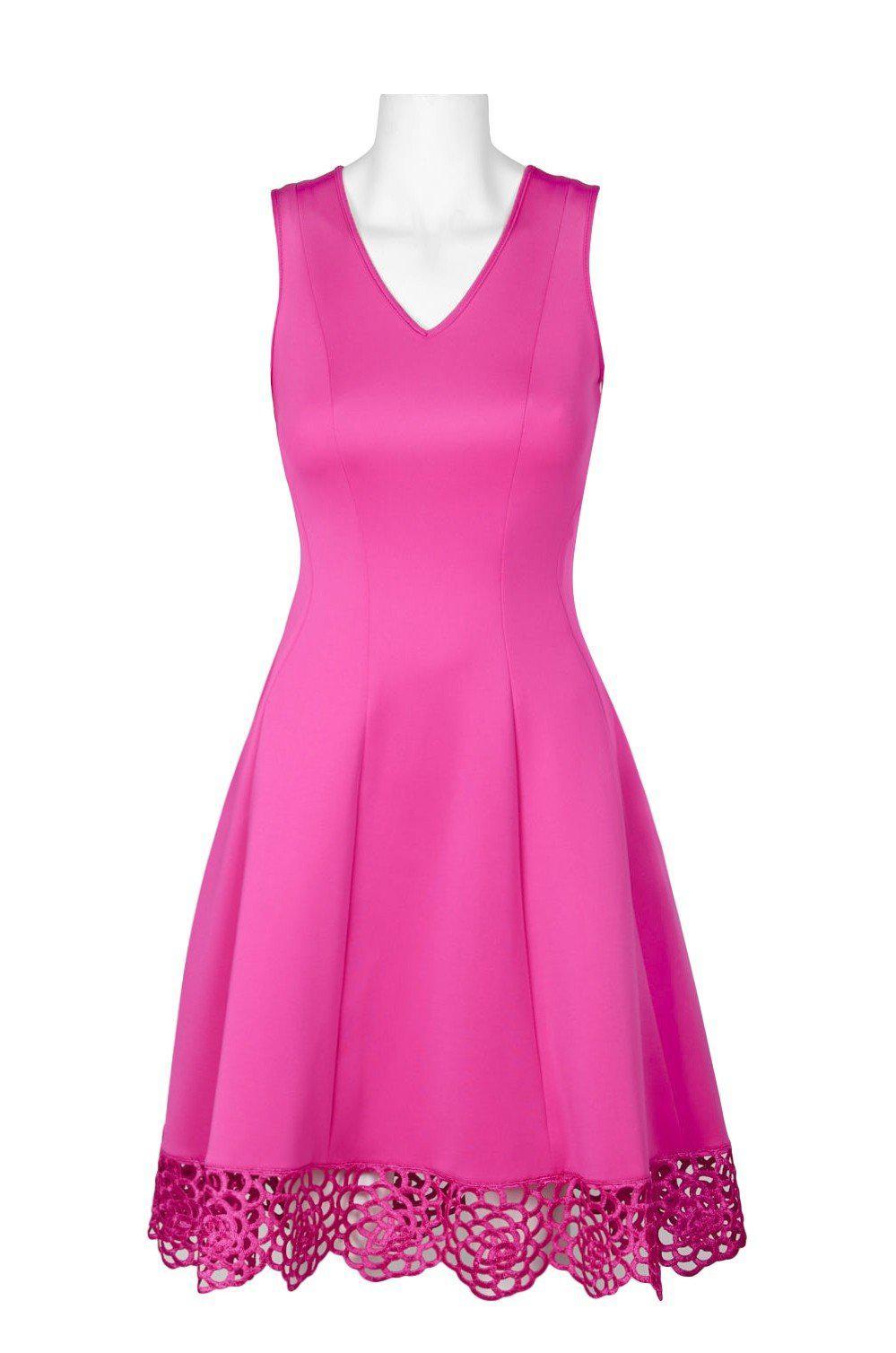 36069fd7ce97 Donna Ricco. Women s Pink Dr30919 Sleeveless V Neck Crochet Hem Scuba Dress