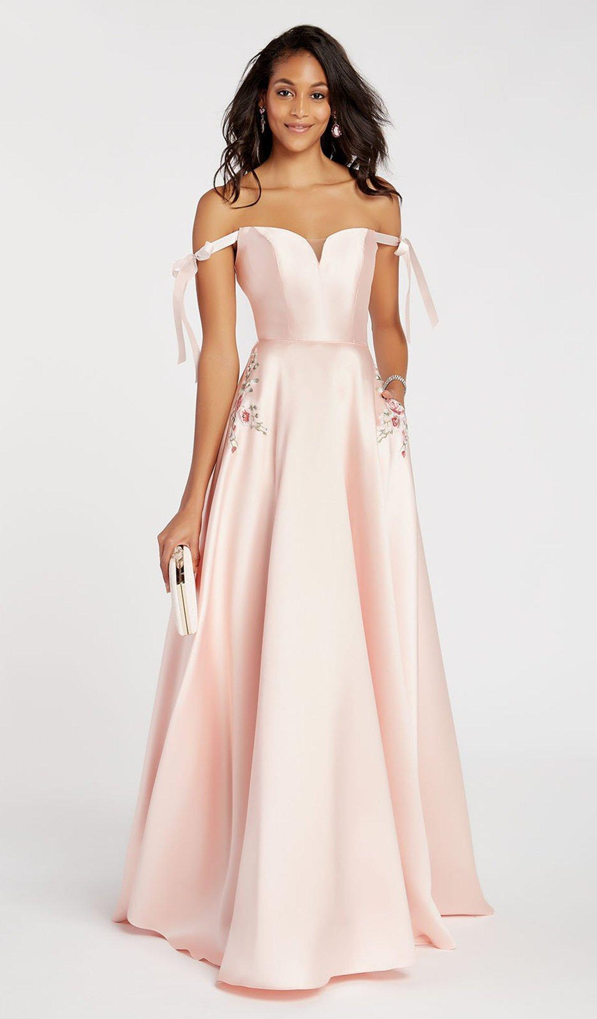 0f2ef35ad9 Alyce Paris 60499 Ribbon Sleeves Off Shoulder Mikado Prom Gown in ...
