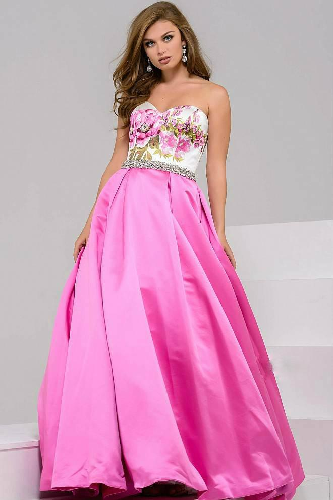 Lyst - Jovani Strapless Sweetheart Floral Print Ballgown in Black