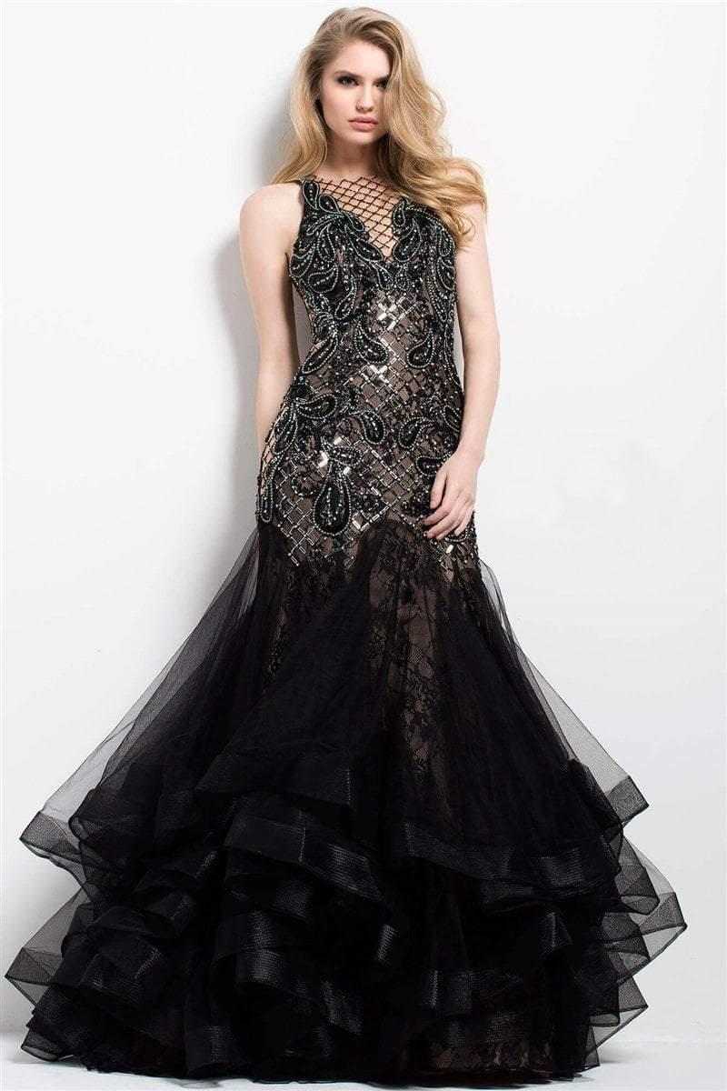 64fb7d370b5 Lyst - Jovani 45996 Beaded Illusion Jewel Mermaid Dress in Black