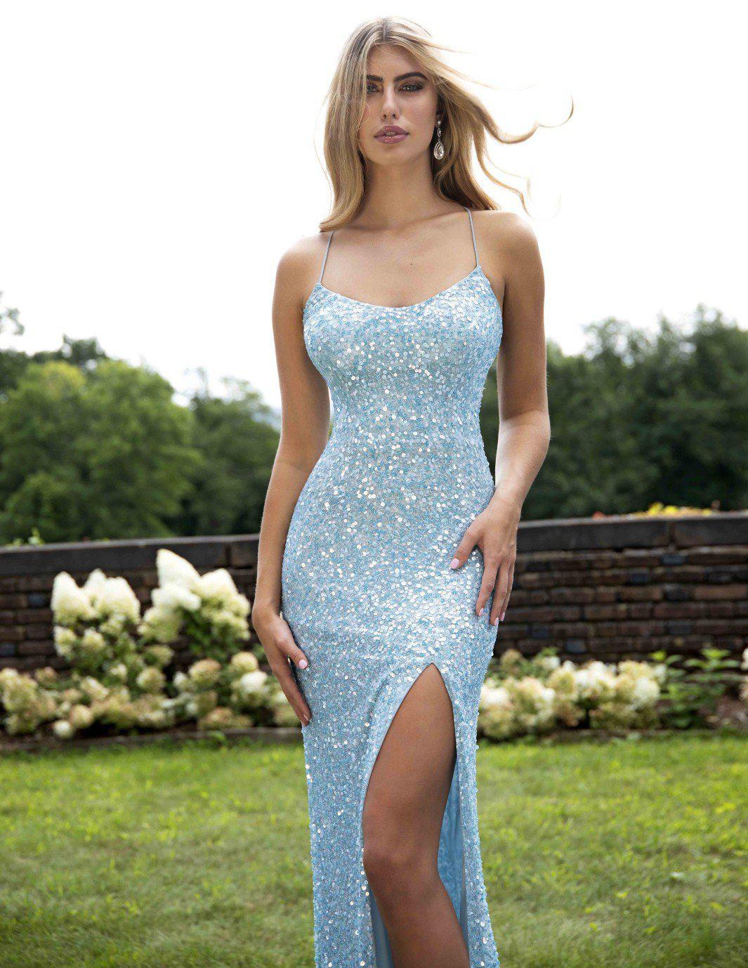 f4d5814224 Primavera Couture 3290 Allover Sequin Sexy Back Sheath Gown in Blue ...
