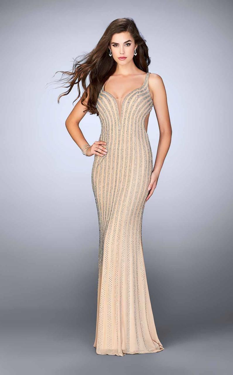 222fabc2efc La Femme. Women's 24057 Stunning Bead Embellished Sheath Long Evening Gown