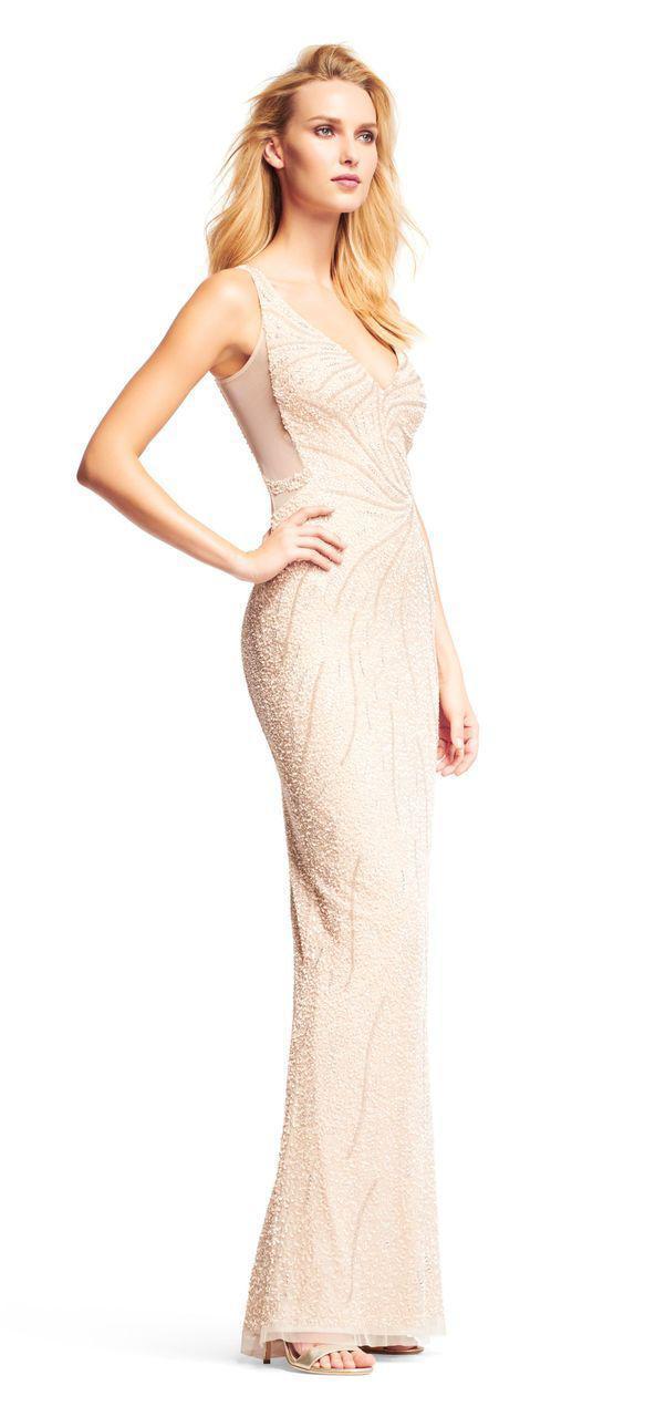 Lyst - Aidan Mattox - Md1e200817 Sequin Embellished Sleeveless V ...