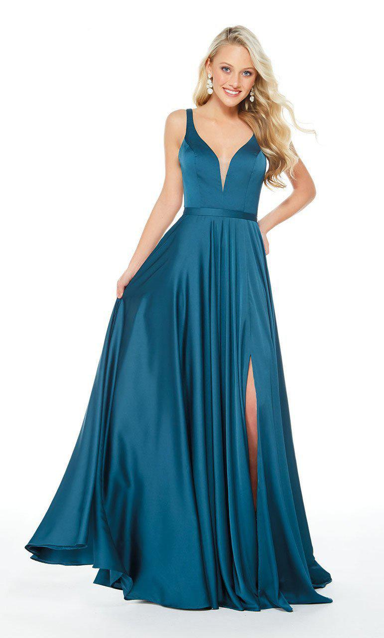 45e81e2b36 Lyst - Alyce Paris - 60246 Plunging V-neck High Slit A-line Gown in Blue