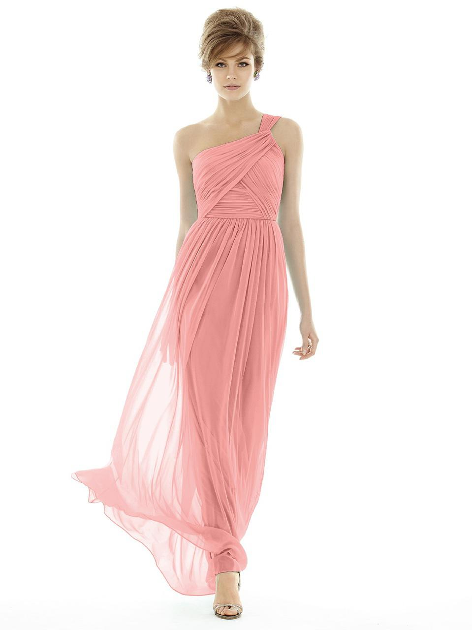 Lyst - Alfred Sung D Bridesmaid Dress In Apricot in Pink - Save 12%