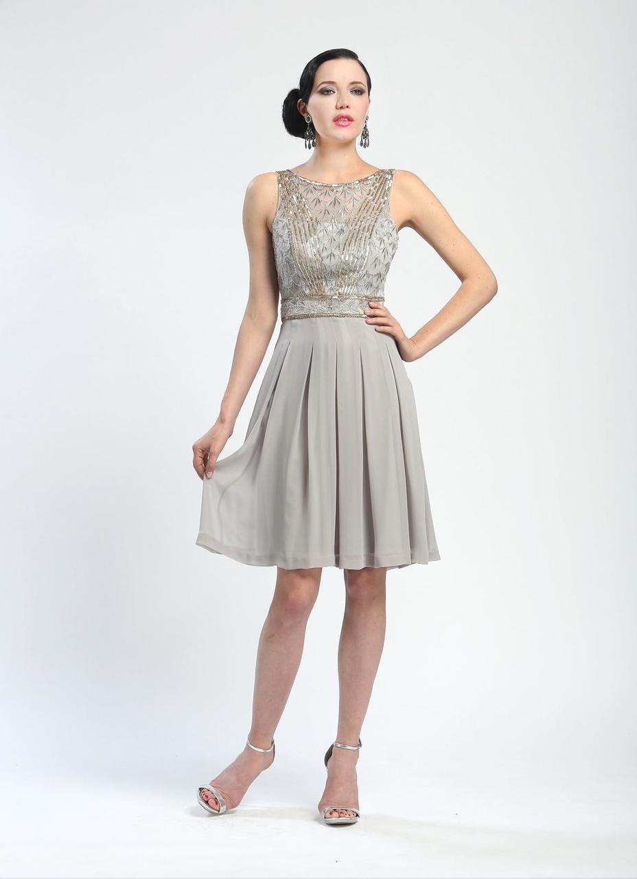 0c0a9e80 Lyst - Sue Wong Ornate V-cut Back Dress N4216 in Gray