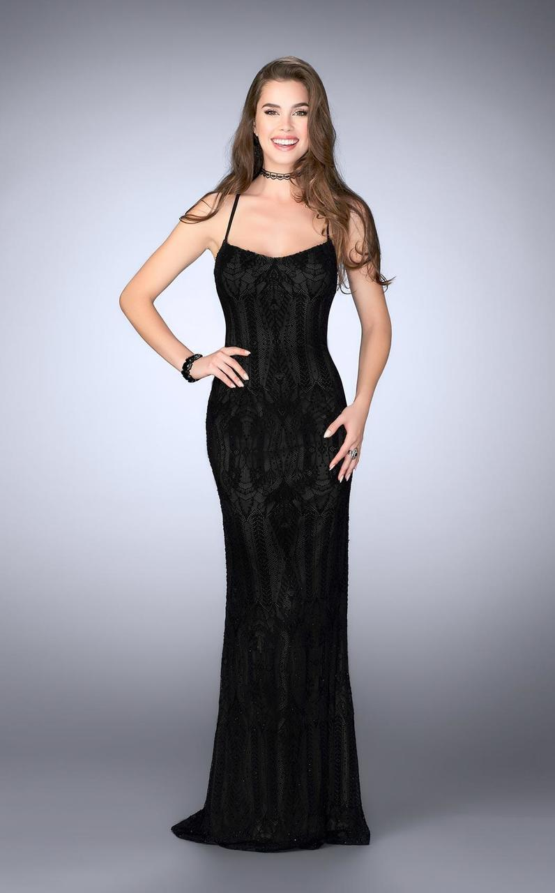 64d240b3b4 La Femme. Women's Black 24740 Decadent Lace Sweetheart Sheath Evening Gown