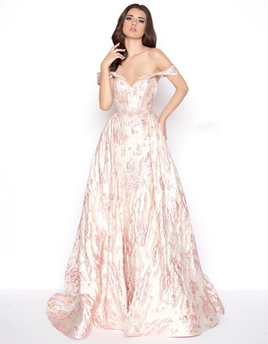 76ae588e155 Mac Duggal 79195d Off-shoulder Metallic A-line Evening Gown in Pink ...