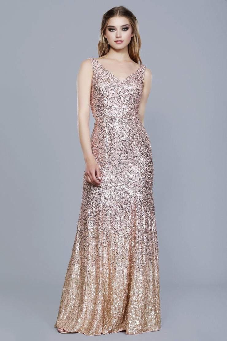 Lyst - Shail K 12163 All Over Sequin Embellished Ombre Evening Dress ...