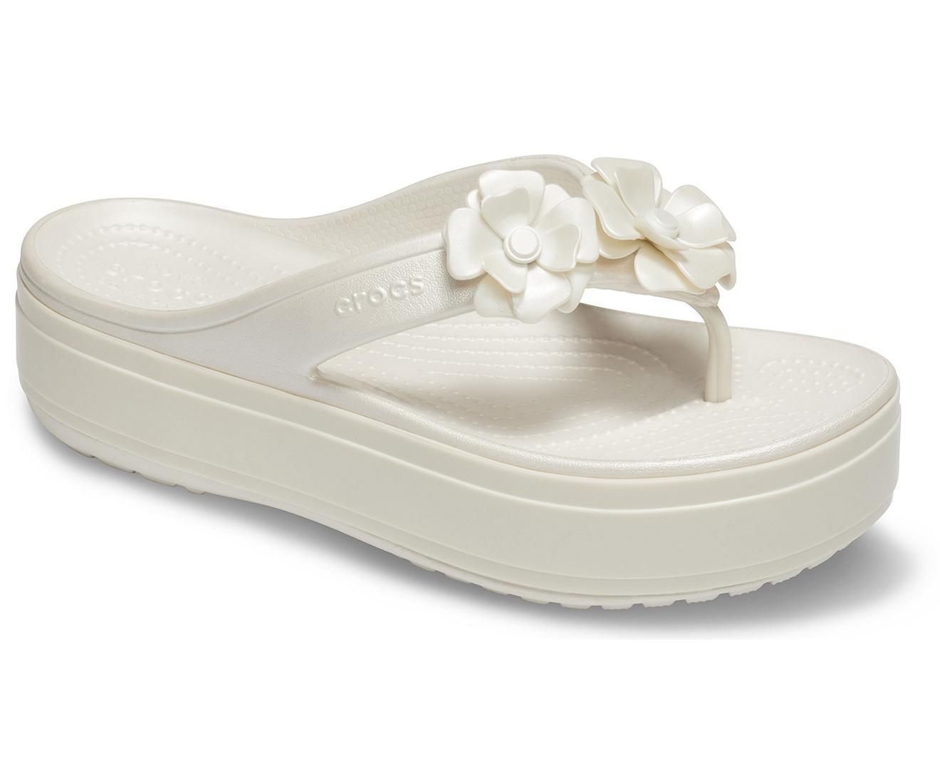 2d7d1ecbceb7 Lyst - Crocs™ Crocband Platform Vivid Blooms Flip in White