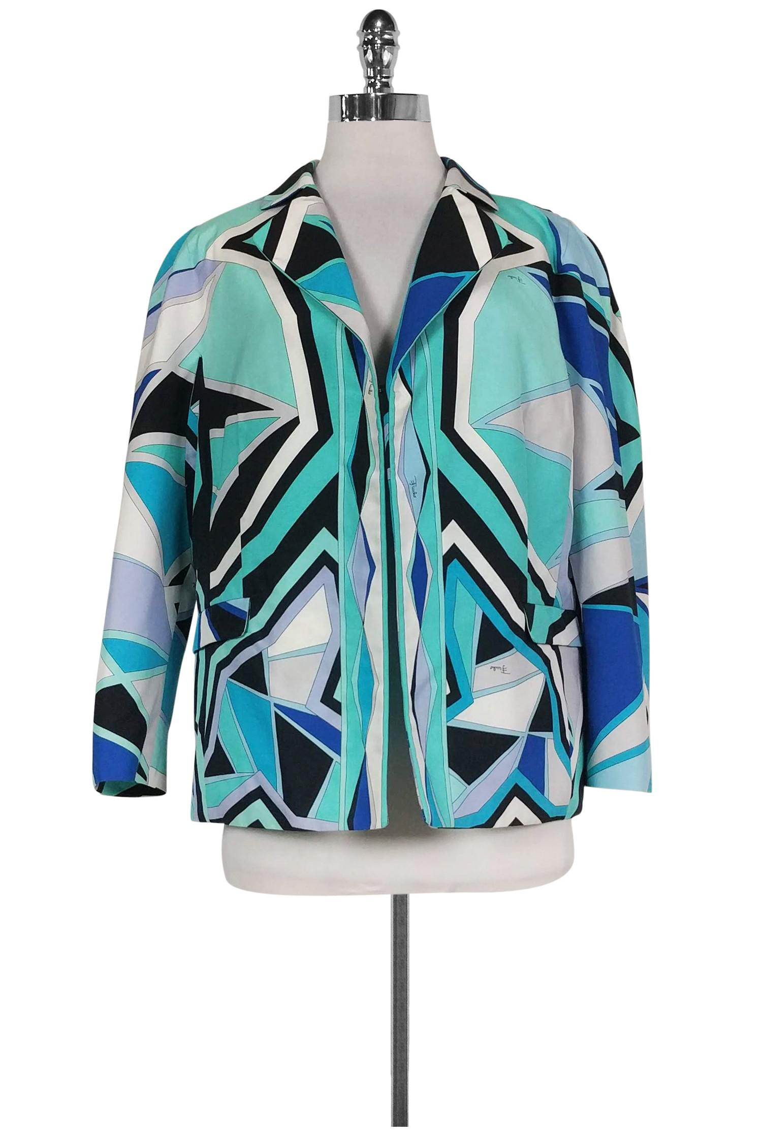 c0f51f4488ce Lyst - Emilio Pucci Multi-color Abstract Print Jacket in Blue