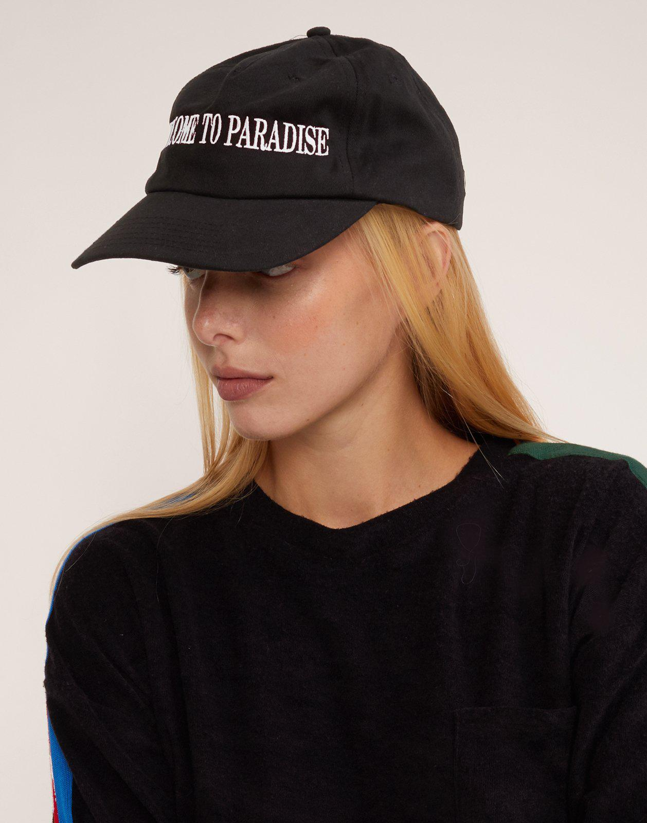 Lyst - Cynthia Rowley Welcome To Paradise Baseball Cap in Black 99ded12fbc87