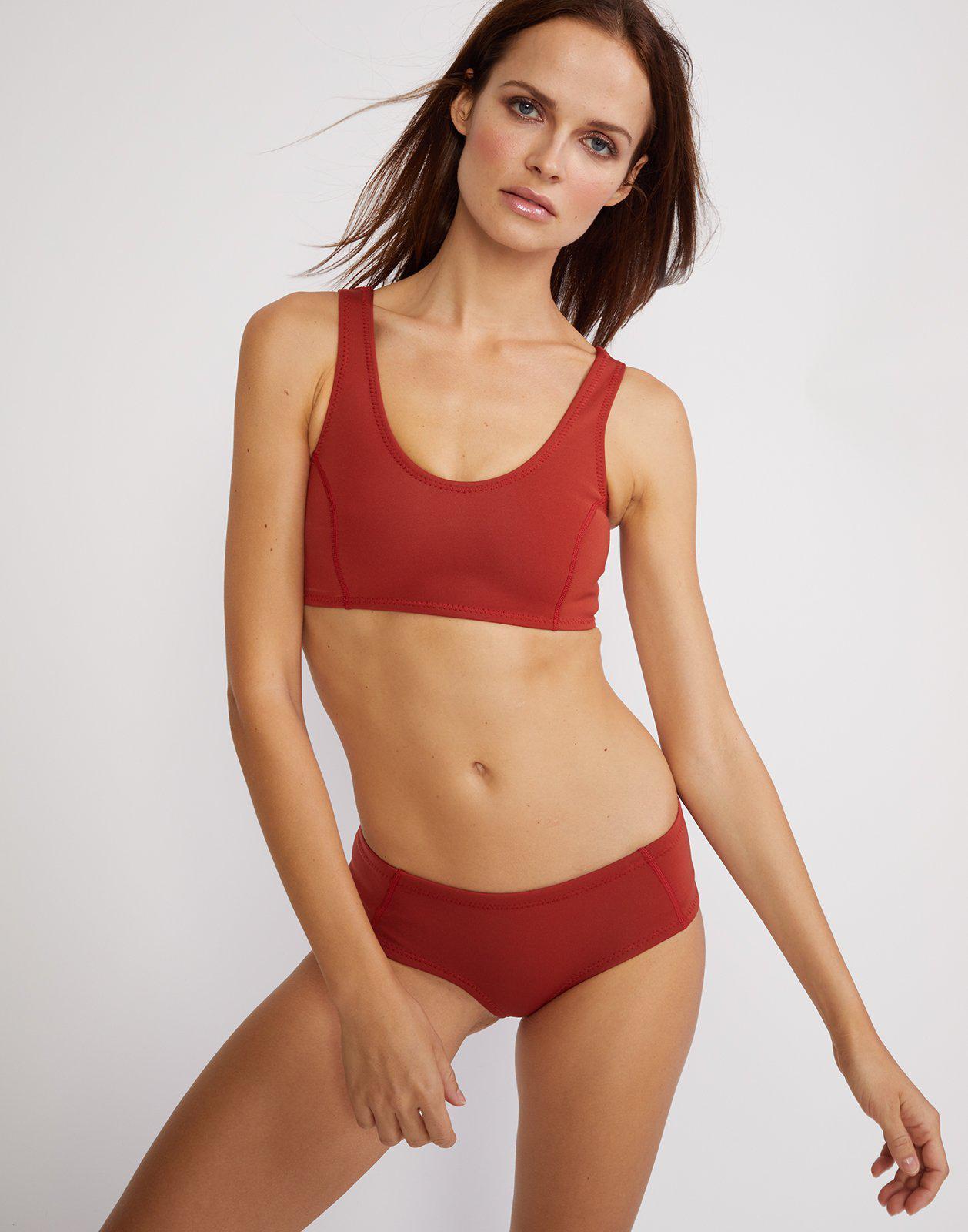 0078cc4fdd362 Lyst - Cynthia Rowley Rust Bikini Top in Red