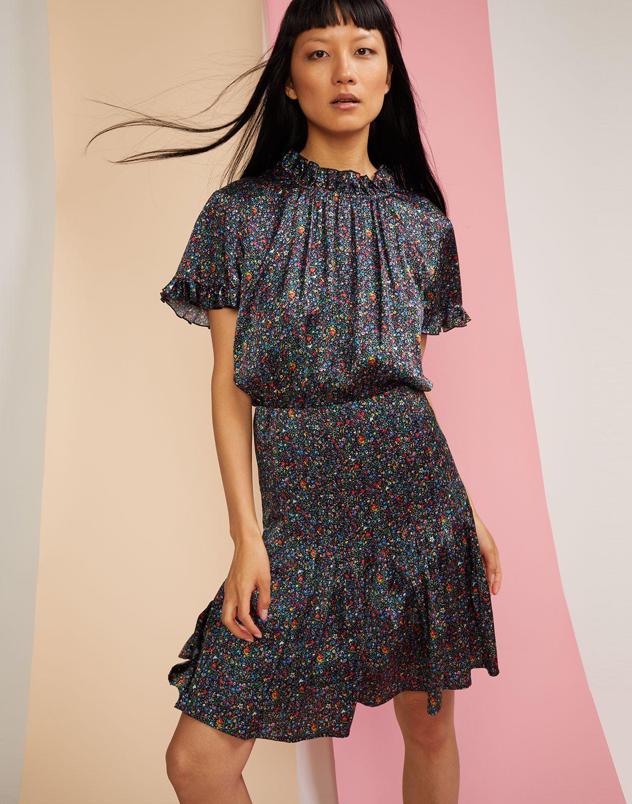 41d59c4719 Cynthia Rowley A-line Silk-blend Dress in Black - Lyst
