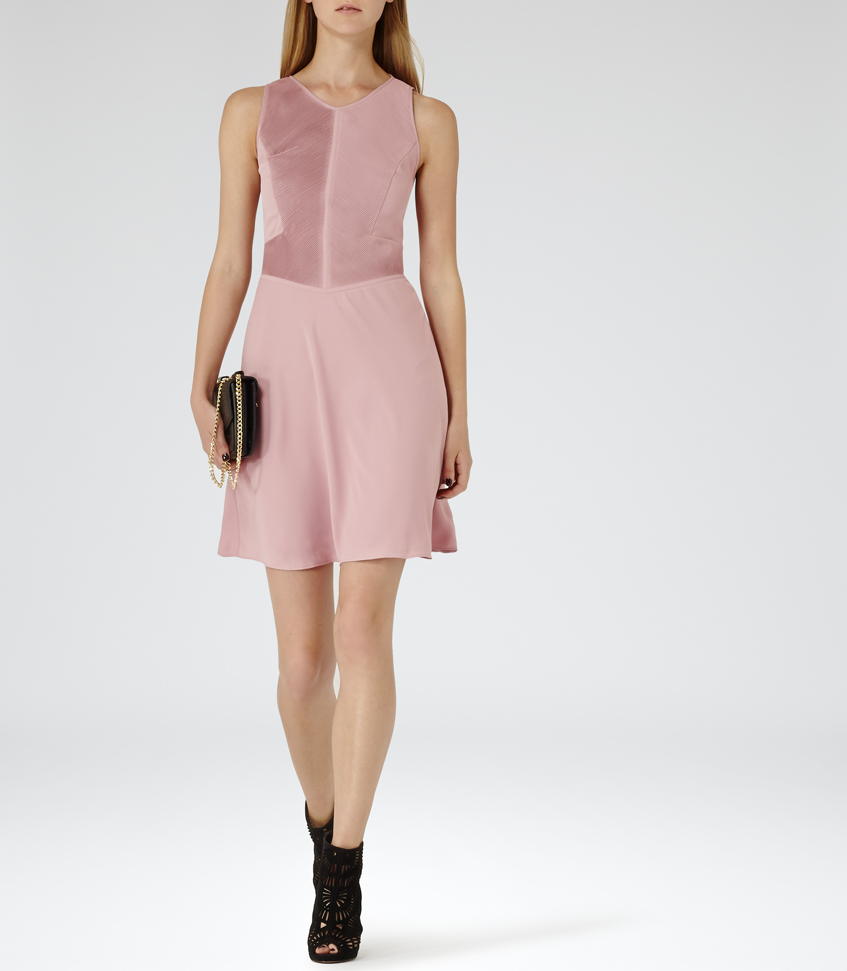 2d99440ed3c1 Reiss Rosa Pintuck Detail Dress in Pink - Lyst