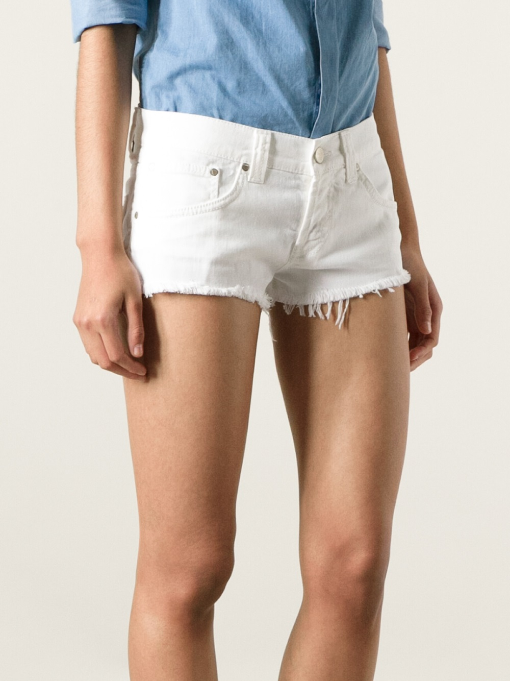Dondup Distressed Denim Shorts in White | Lyst