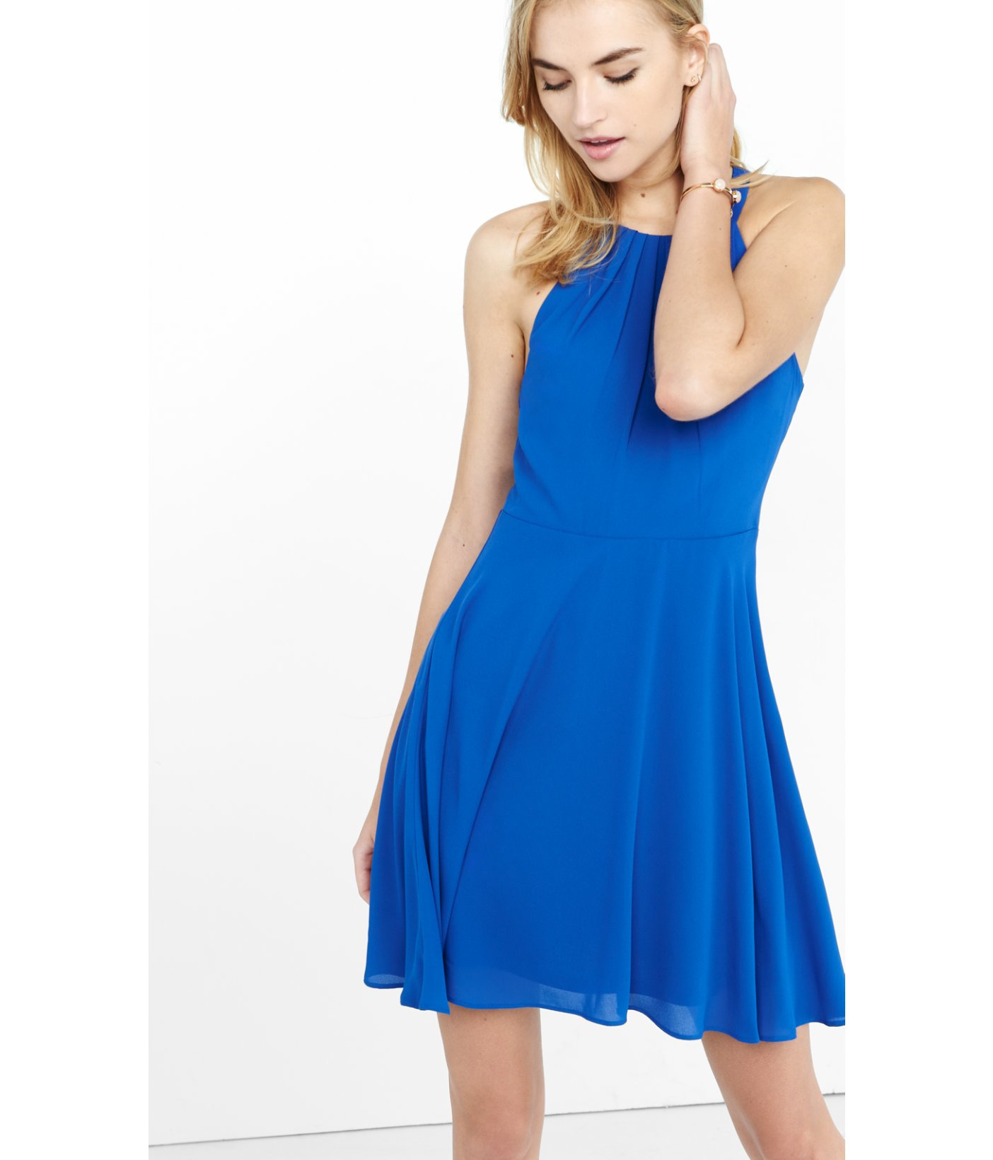 Short Blue Halter Dress